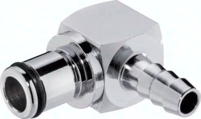 Winkel-Kupplungsstecker (LC) mit Schlauchtülle, Messing verchromt