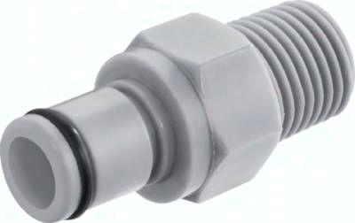 Kupplungsstecker (LC) mit Außengewinde, Polypropylen (grau)