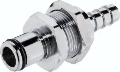 Schott-Kupplungsstecker (LC) mit Schlauchtülle, Messing verchromt