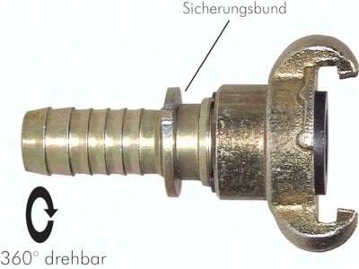 """Kompressorkupplung 19 (3/4"""") mm Schlauch, drehbar, S-Bund"""