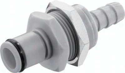 Schott-Kupplungsstecker (LC) mit Schlauchtülle, Polypropylen (grau)