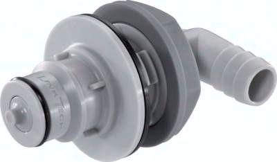 Schott-Winkel-Kupplungsstecker (HF) mit Schlaucht., Polypropylen
